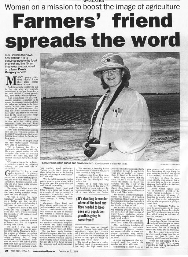 Sun Herald article on Kim Goldsmith 6 Dec 1998